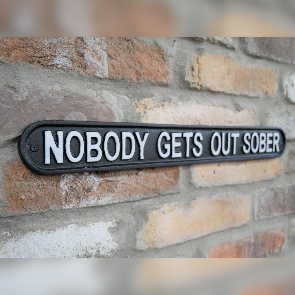 Click to view product details and reviews for Nobody Gets Out Sober Sign.