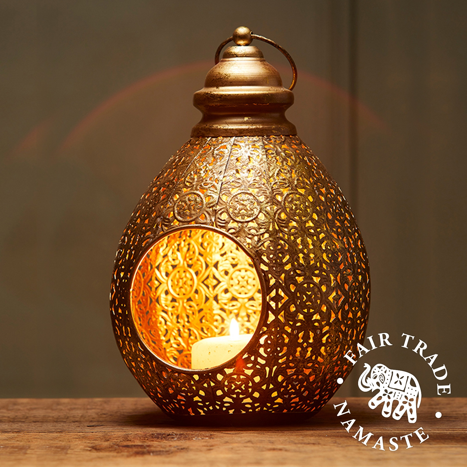 Click to view product details and reviews for Open Teardrop Cutwork Lantern Fair Trade Lt181.