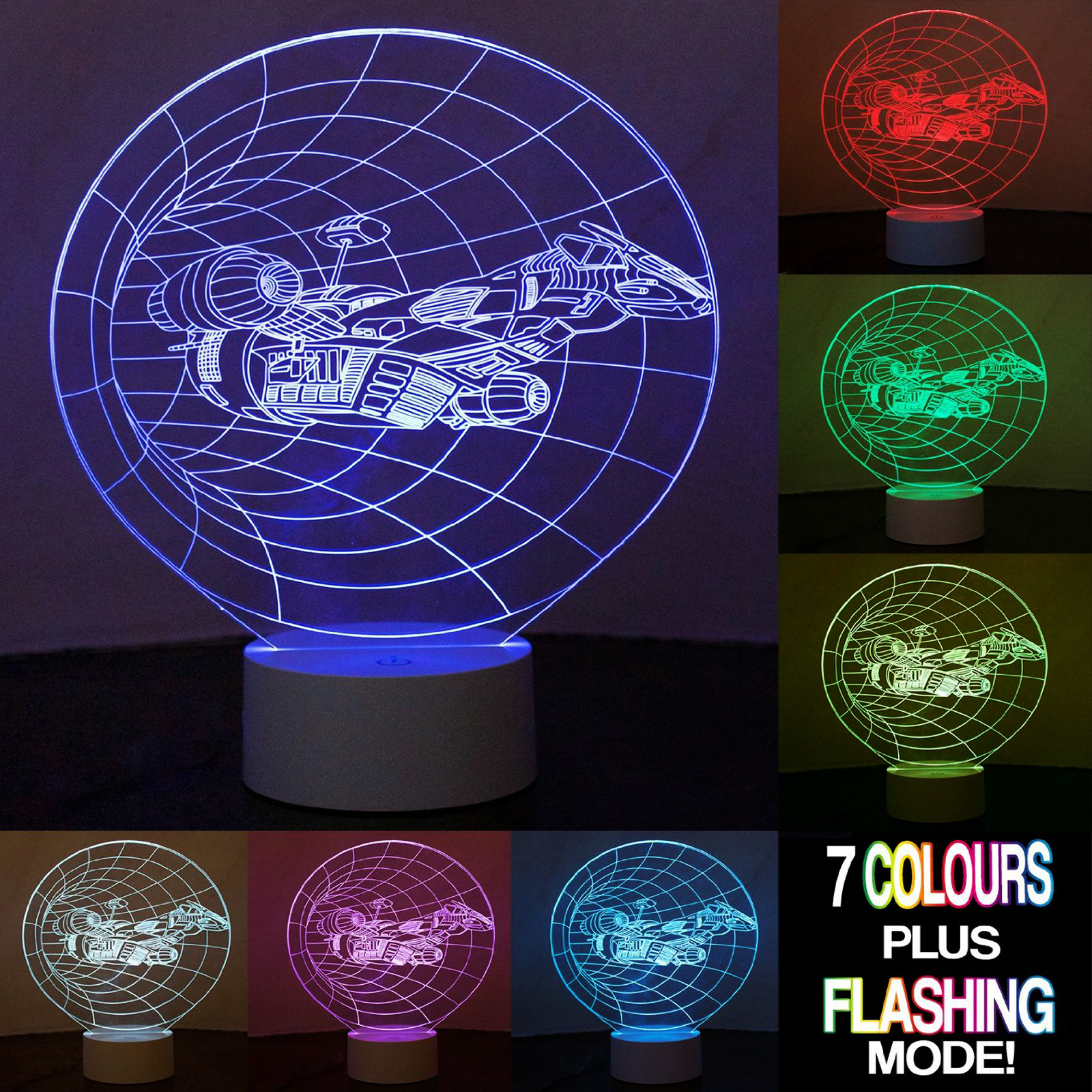 Click to view product details and reviews for Optical Illusion 3d Spaceship Lamp.