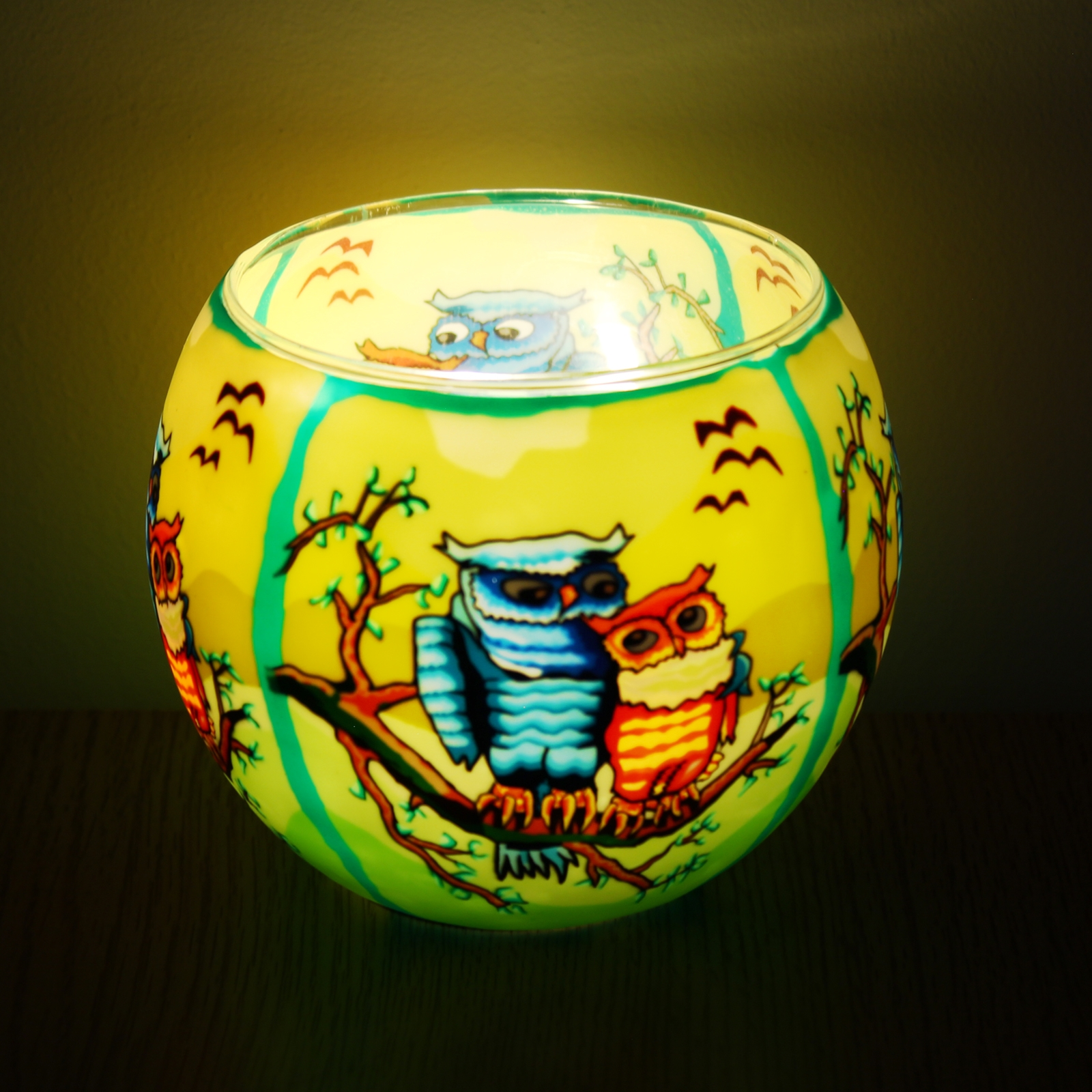 Click to view product details and reviews for Owls Glass Tealight Holder.