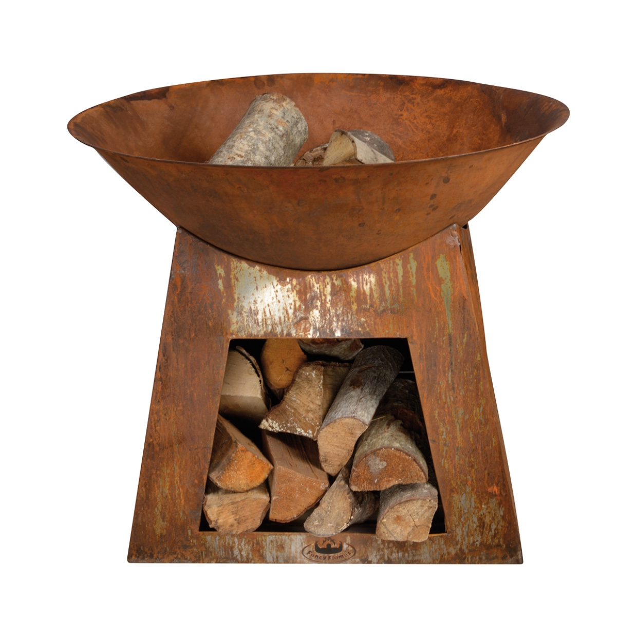 Oxidised Fire Bowl And Woodstore Ff169