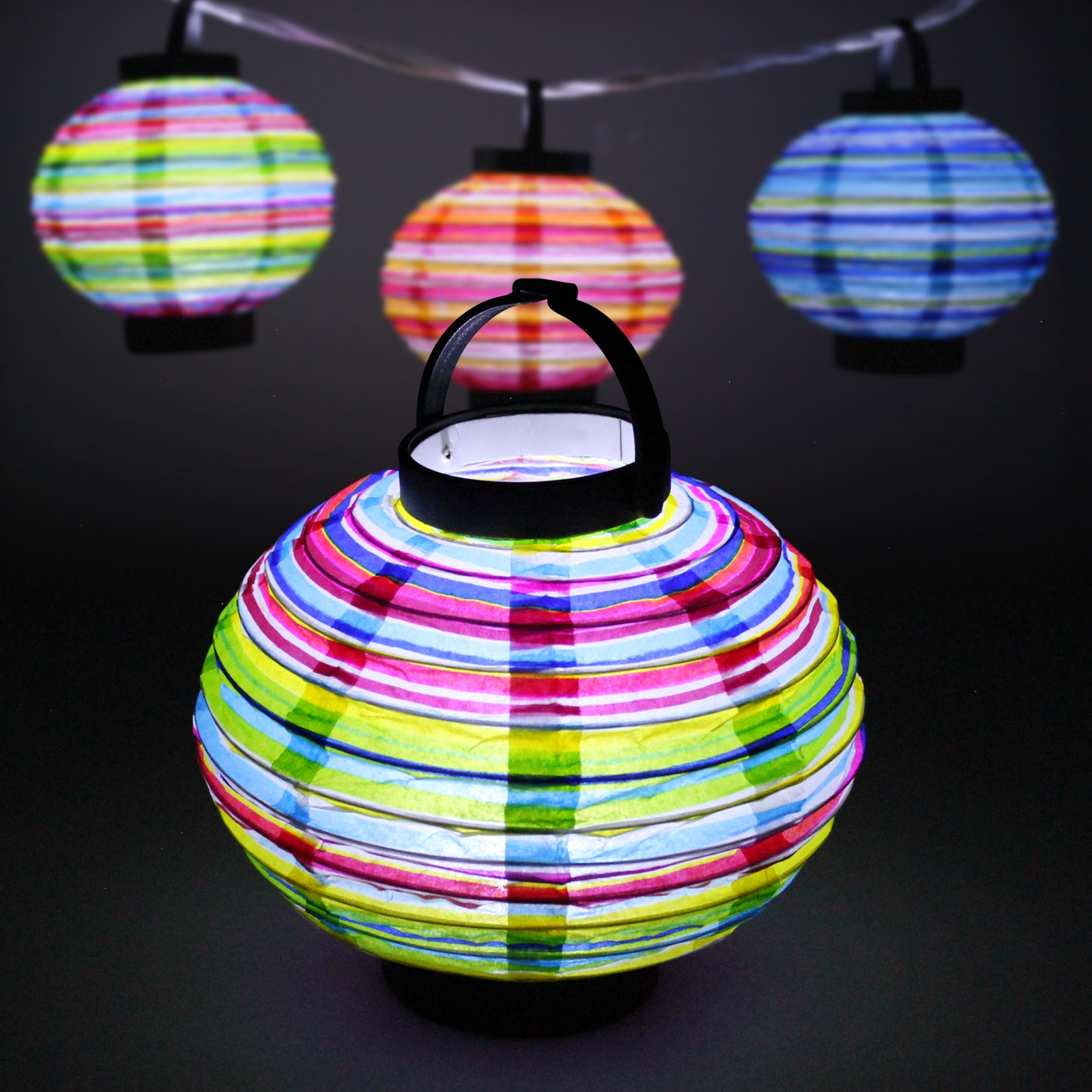 Click to view product details and reviews for 18cm Led Striped Paper Lantern.