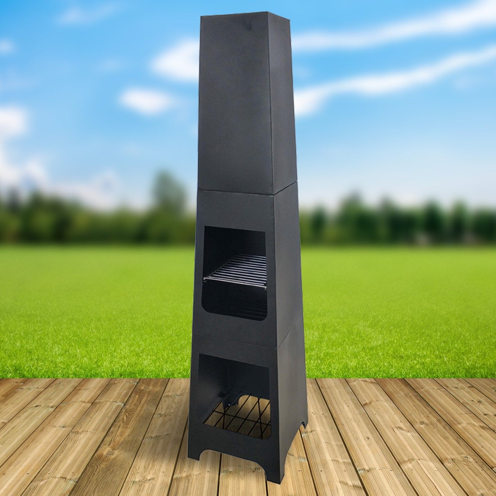 Click to view product details and reviews for Phoenix Steel Chimenea Fire Pit And Bbq Grill With Rain Cover By Fire And Dine.