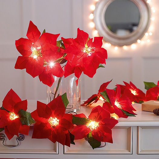 Click to view product details and reviews for Poinsettia Led Garland.