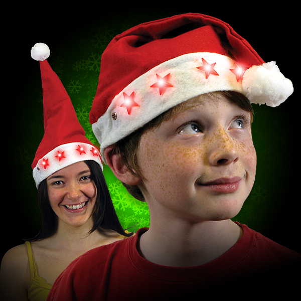Click to view product details and reviews for Flashing Santa Hats.