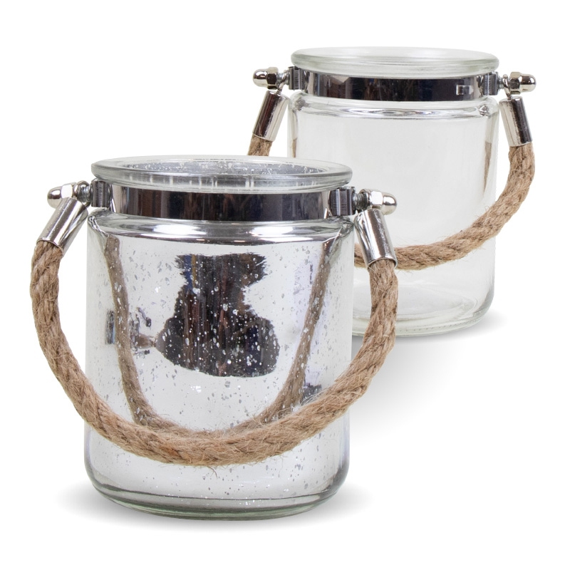 Click to view product details and reviews for Pair Of Silver And Clear Jute Handled Lanterns.