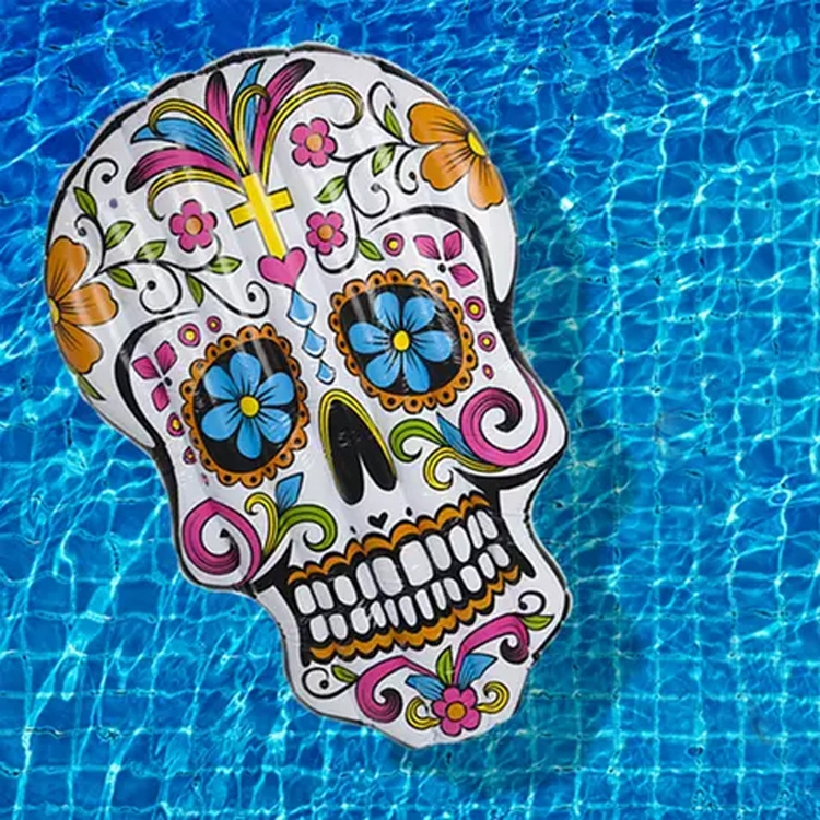 Click to view product details and reviews for Giant Sugar Skull Inflatable Lounger.