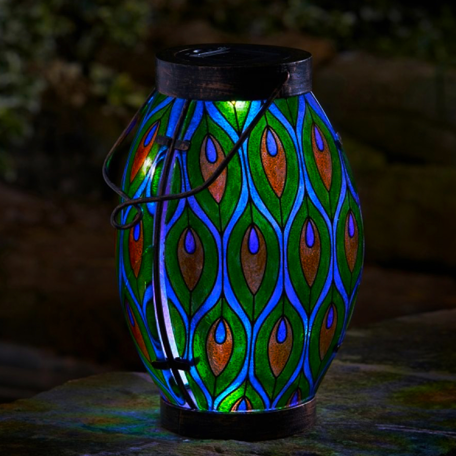 Click to view product details and reviews for Solar Peacock Lantern.