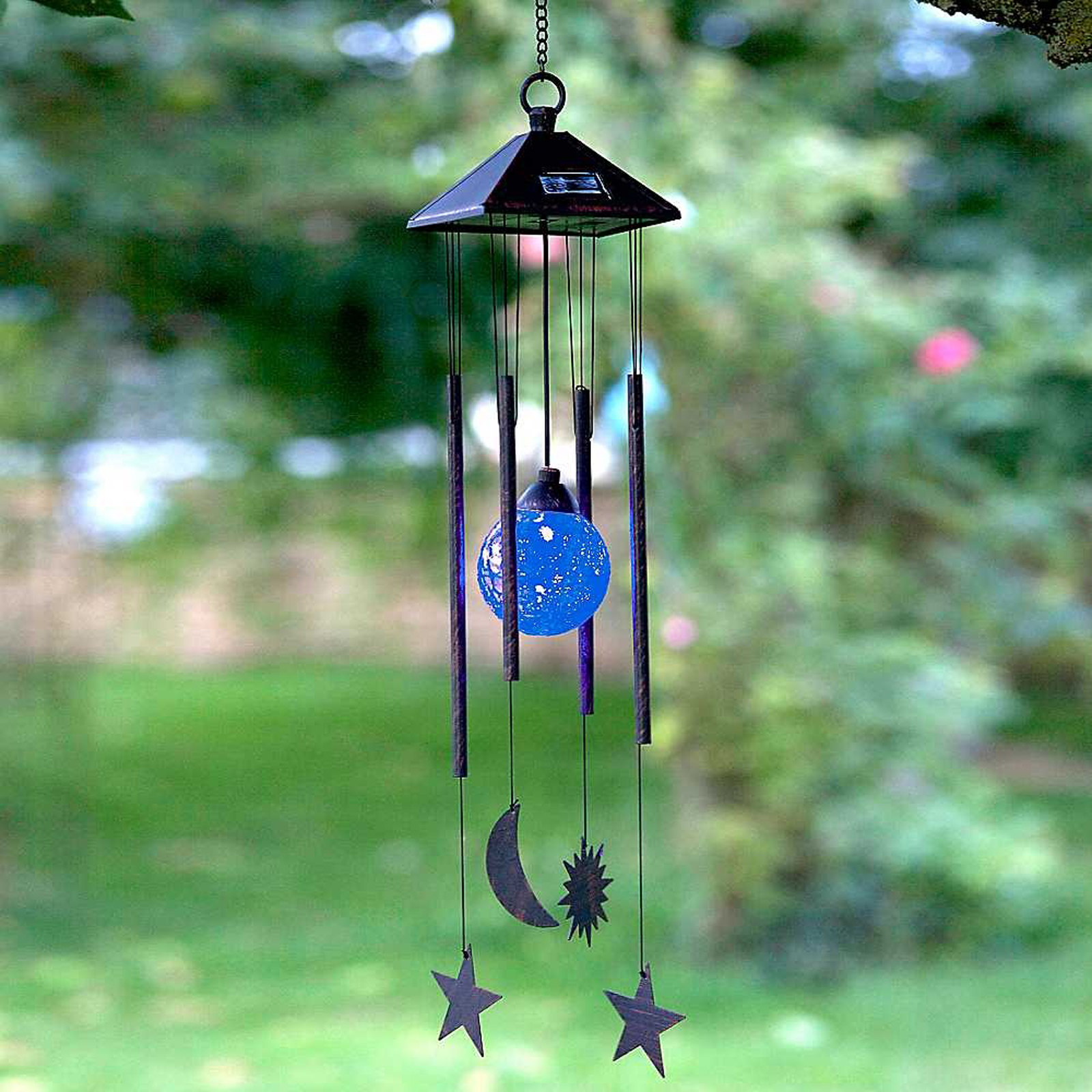 Click to view product details and reviews for Solar Sun And Moon Wind Chime.