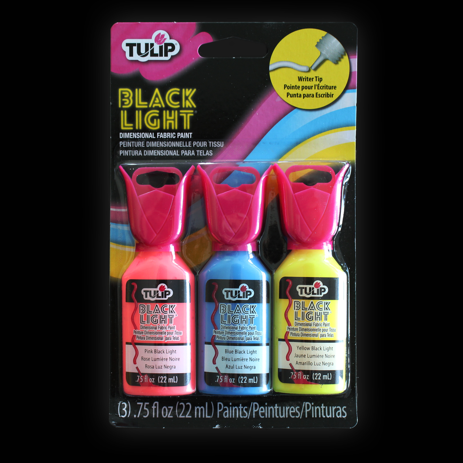 Click to view product details and reviews for Tulip 3d Blacklight Fabric Paint 3 Pack.