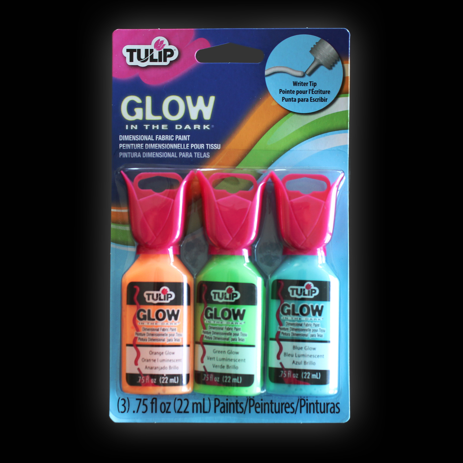 Click to view product details and reviews for Tulip 3d Glow Fabric Paint 3 Pack.