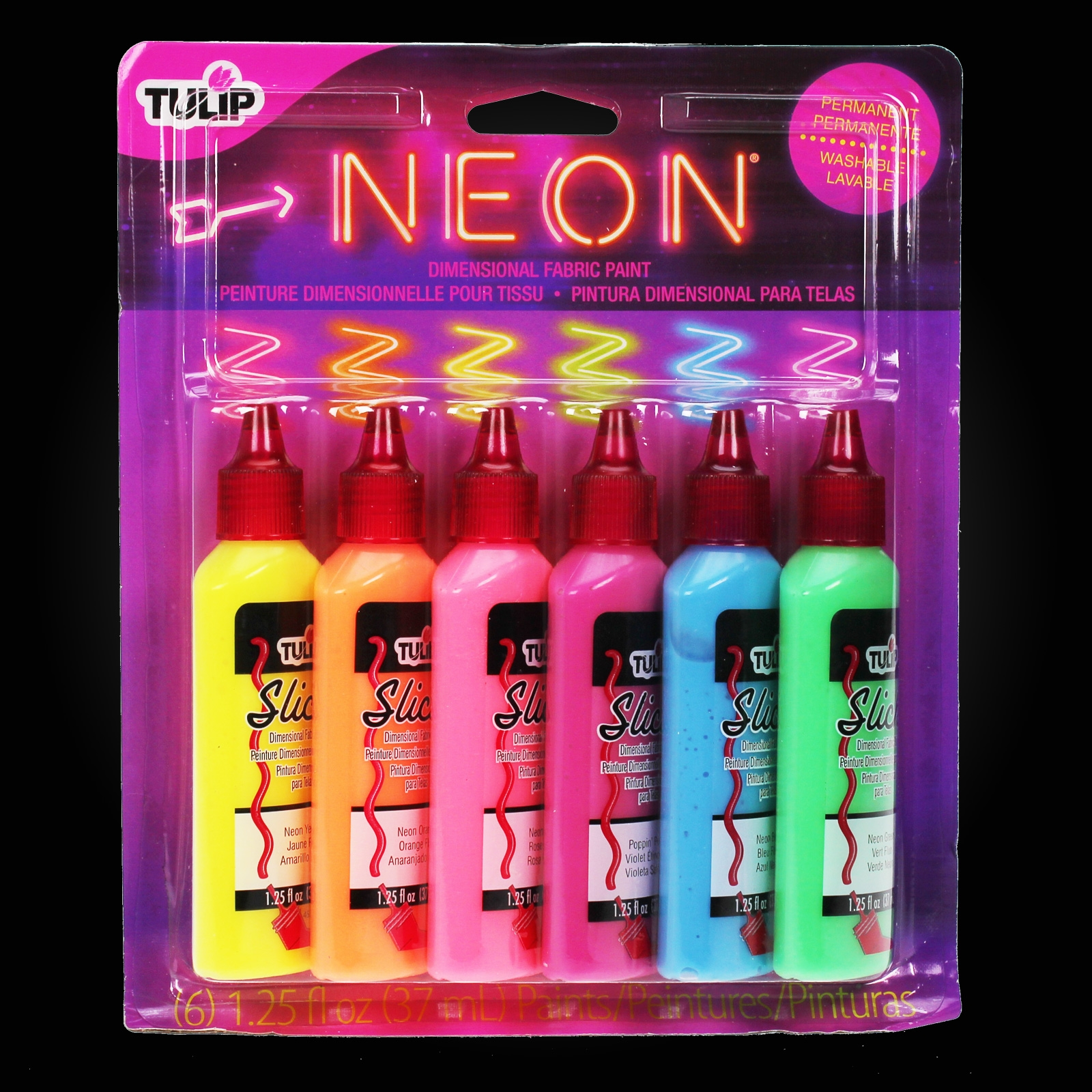 Click to view product details and reviews for Tulip Neon Fabric Paint Set 6 Pack.
