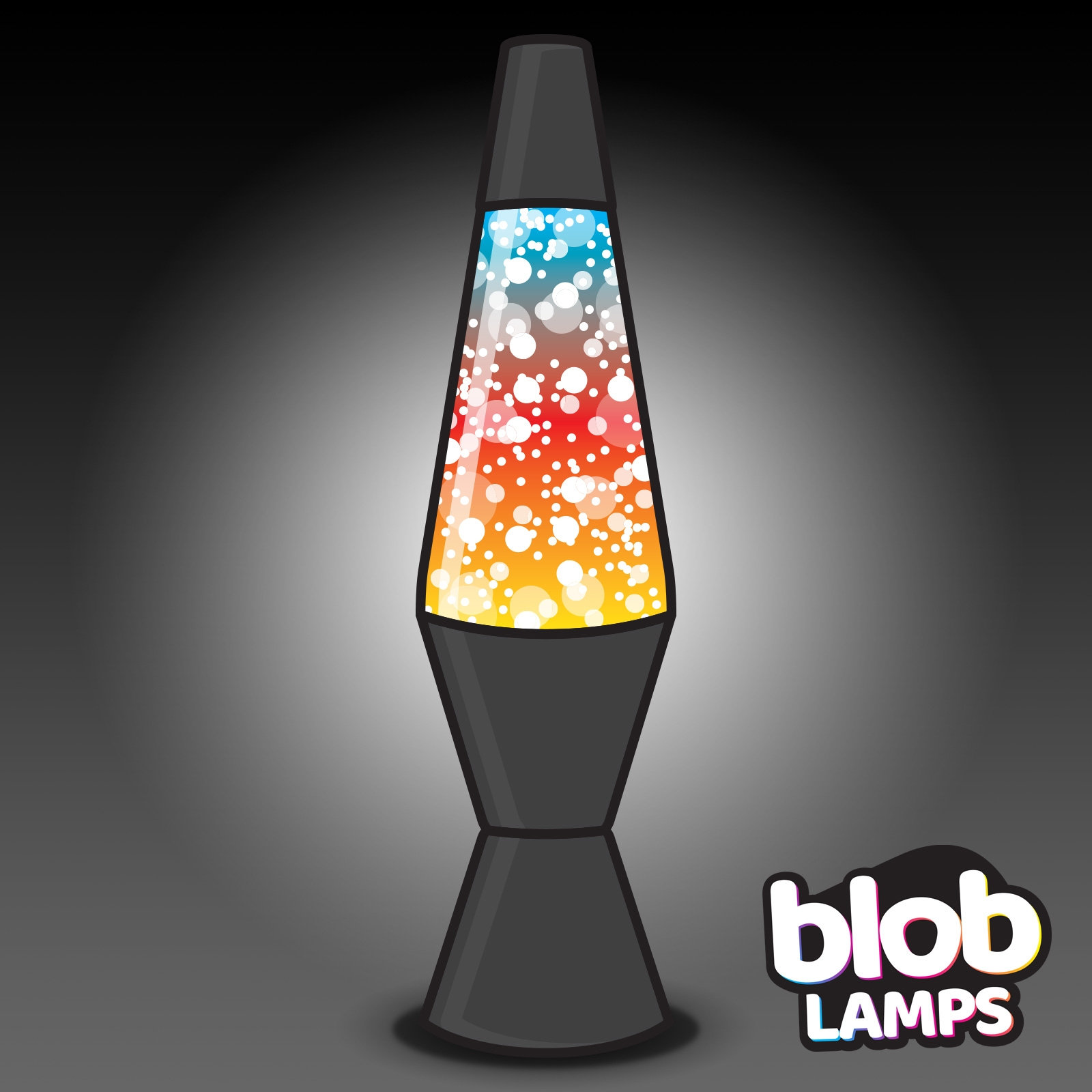 145 Blob Lamp Vintage Matt Black Glitter Lamp Glitter Rainbow