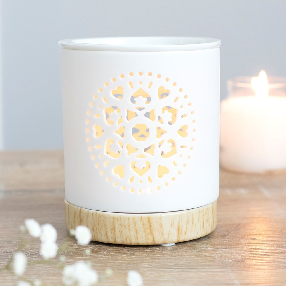Click to view product details and reviews for White Mandala Oil Burner.