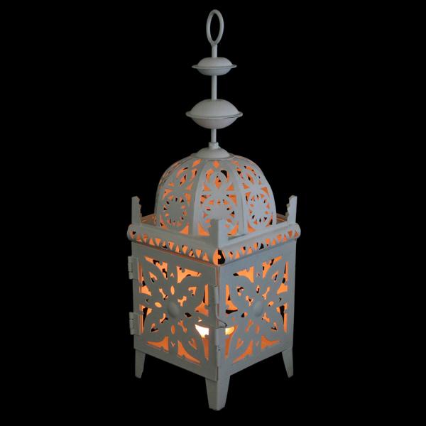 White Moroccan Metal Lantern 71053