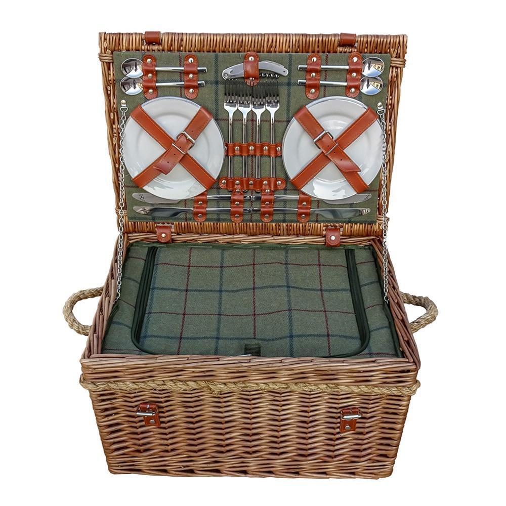 Four Person Tweed Fitted Picnic Basket