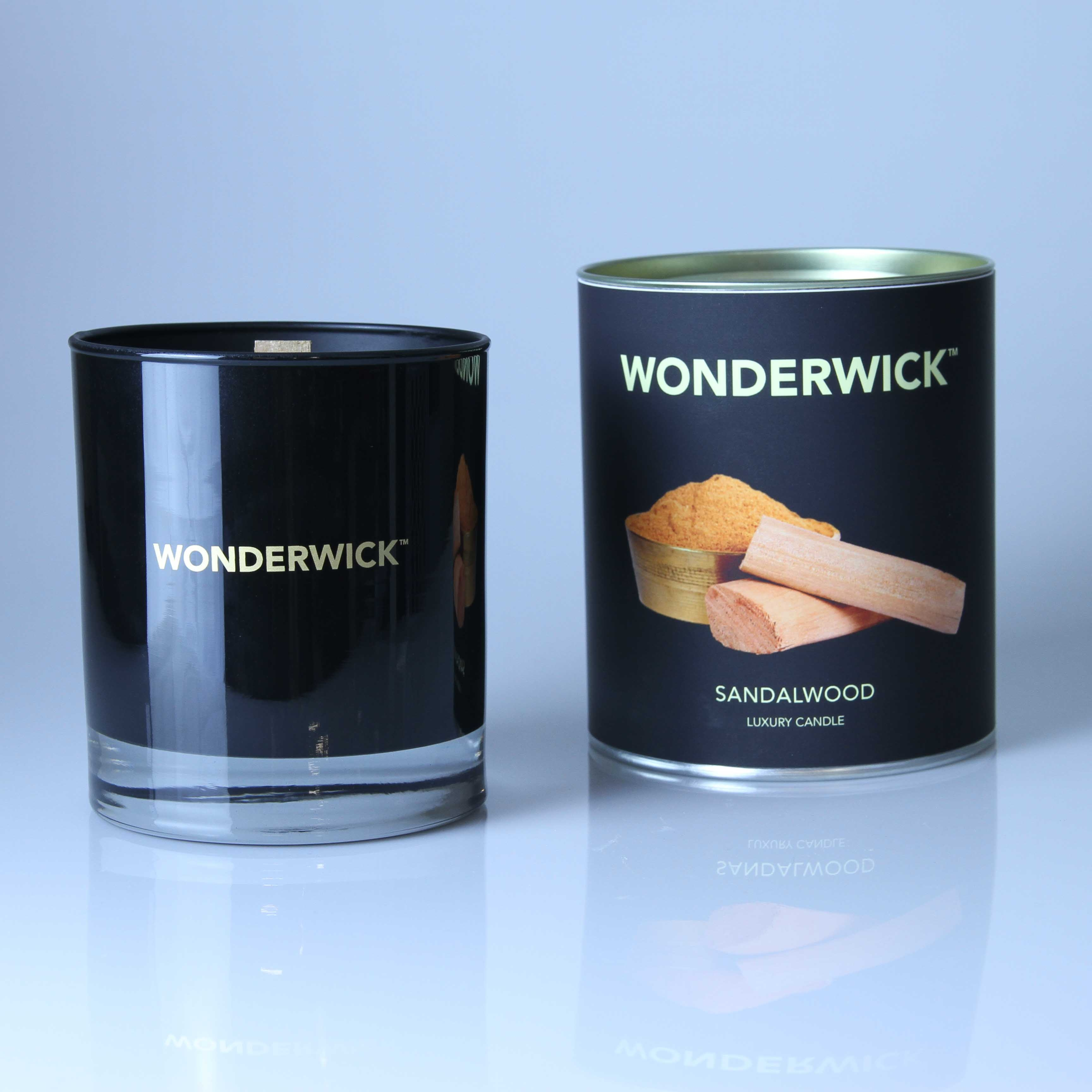 Click to view product details and reviews for Wonderwick Sandalwood Noir Glass Candle.