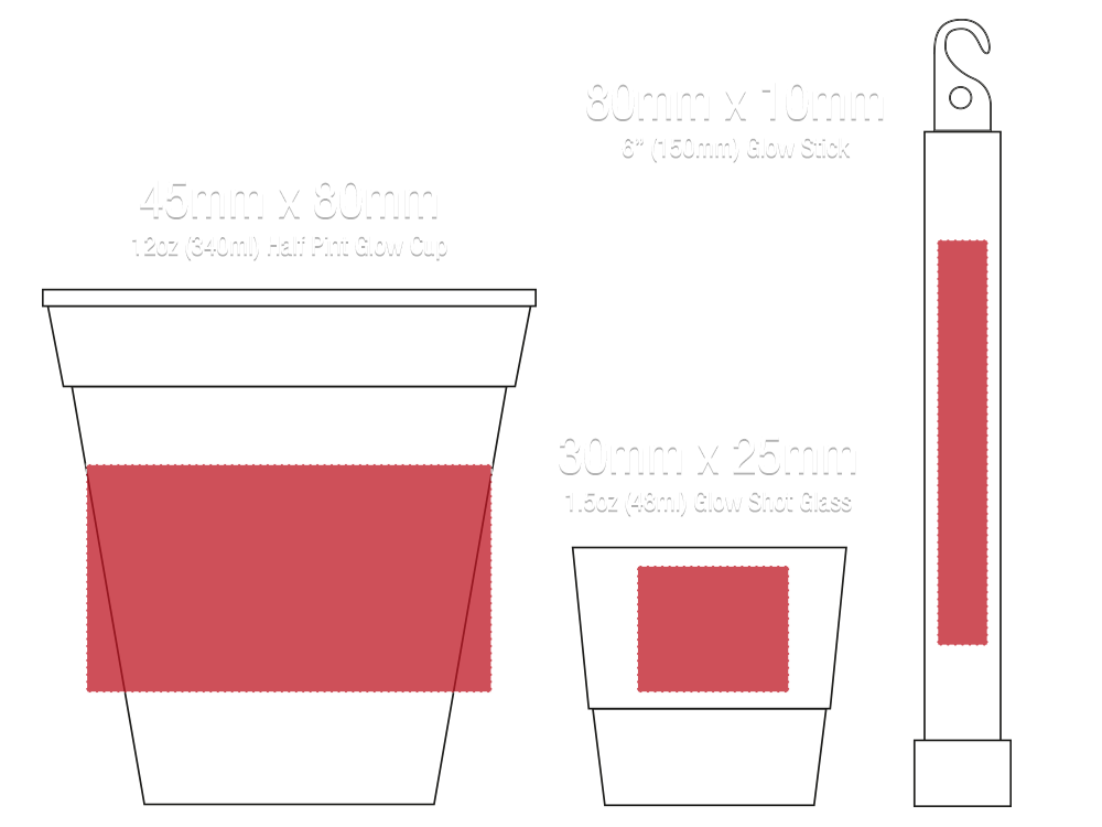 Print sizes for glow cups